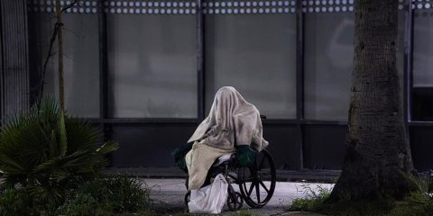 Photo of a homeless person on Sunset Blvd.