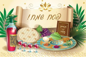 Illustration of a traditional Passover meal