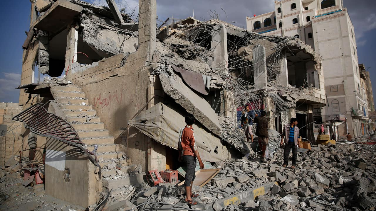 Photo of a destroyed house in Yemen