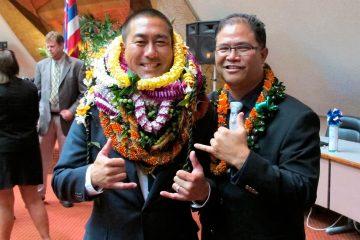Photo of former Hawaii Rep. Derek Kawakami, left, and Rep. James Tokioka, right, both of Kauai