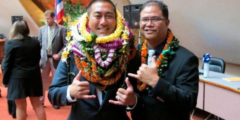 Photo of former Hawaii Rep. Derek Kawakami, left, and Rep. James Tokioka, right, both of Kauai