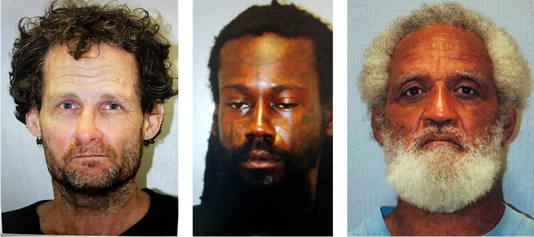 Mugshot combination showing Devin Martin, of Olympia, Wash., Dwight Anthony Tucker of Tampa, Fla., and Bobby Edwards