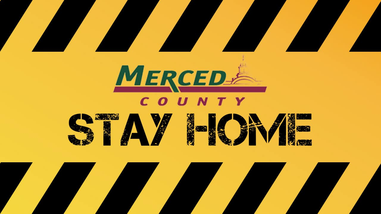 Merced County logo merged with Stay at Home order in black and yellow