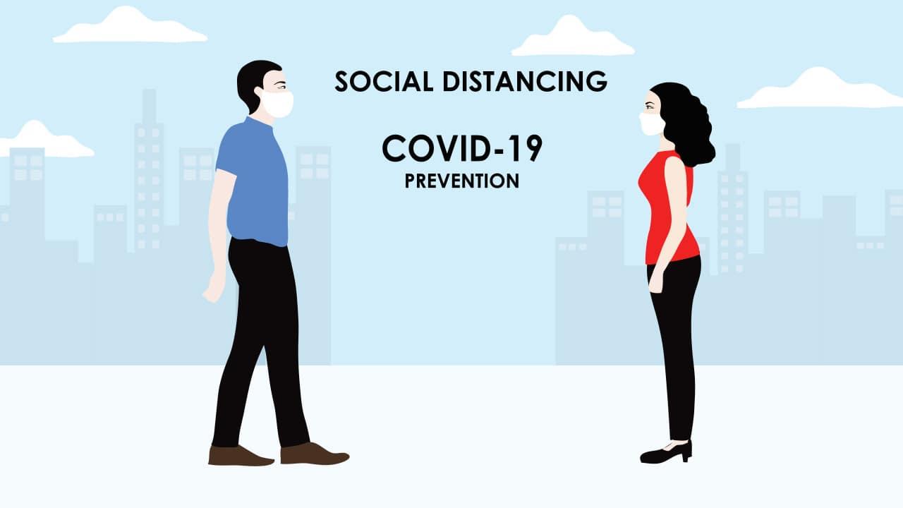 Illustration of social distancing