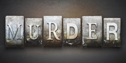 "Photo illustration of the word ""murder"""
