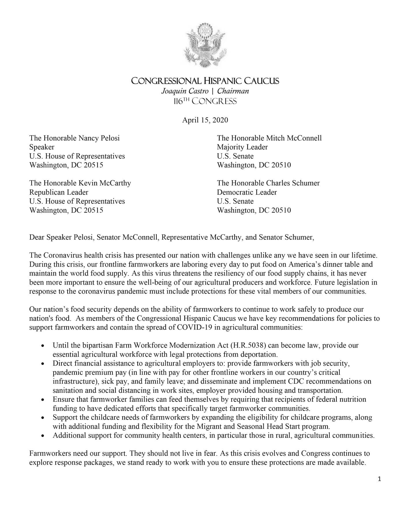 Letter from the Congressional Hispanic Caucus urging COVID-19 protections for farmworkers