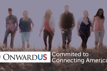 Image of Onward US logo and people helped by its services