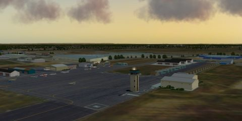 Aerial landscape view of Merced Regional Airport