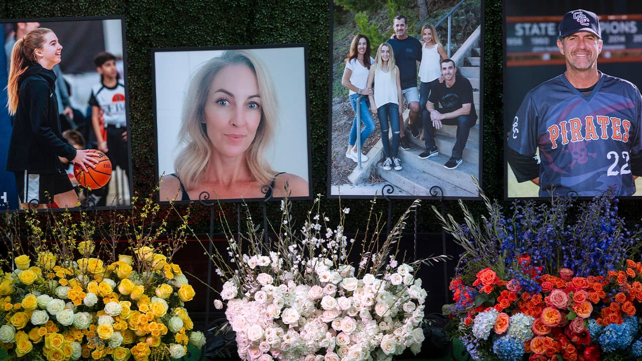 Photo of flowers and photos honoring members of the Altobelli family