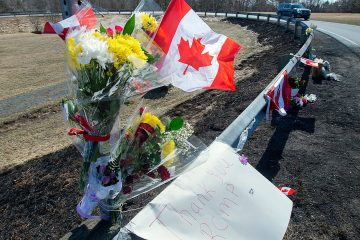 Photo of a memorial on the side of the road in Canada