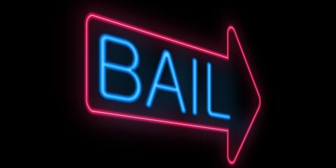 "Photo of a neon ""bail"" sign"