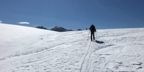 Photo of a snow survey crew in the Sierra