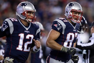 Photo of quarterback Tom Brady (12) and tight end Rob Gronkowski