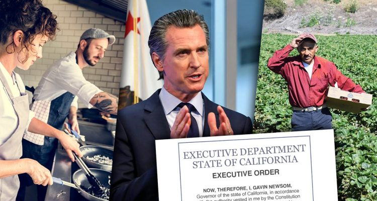 Collage image of Gov. Gavin Newsom and employees covered by his proposed executive order
