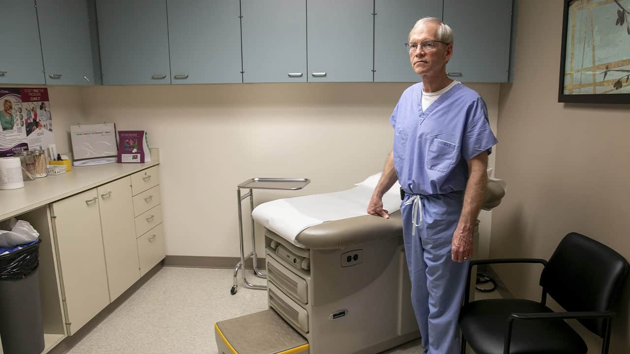 Photo of Dr. George Scott in one of several examination rooms in his Manteca clinic