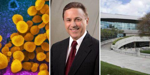 Composite image of coronavirus, Garry Bredefeld, and Fresno City Hall