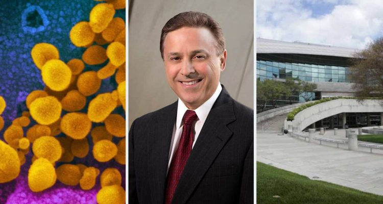 Composite image of coronavirus, Garry Bredefeld, and Fresno City Hall