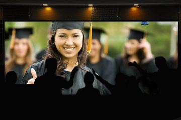 Image conveying virtual high school graduation being shown on local television