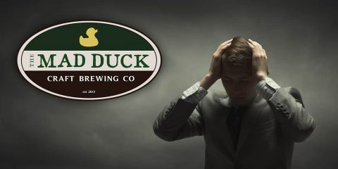 Composite image of a frustrated business owner and the logo for Fresno's Mad Duck Brewing restaurants