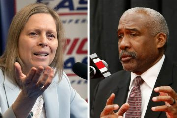 Photo of Big East Conference Commissioner Val Ackerman and Ohio State athletics director Gene Smith