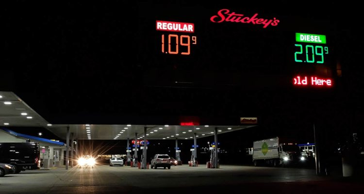 Photo of a gas station showing gas prices