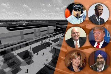 rendering of new Central Unified high school combined with portraits of leaders who have been suggested as the name for the school