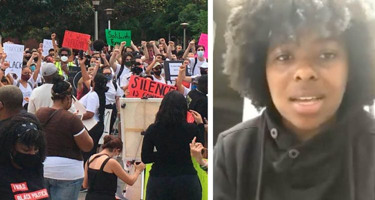 Side by side images of Fresno protests and one of the organizers, D'Aungillique Jackson