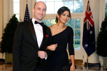Photo of President Donald Trump's White House Senior Adviser Stephen Miller, left, and Katie Waldman, now Miller