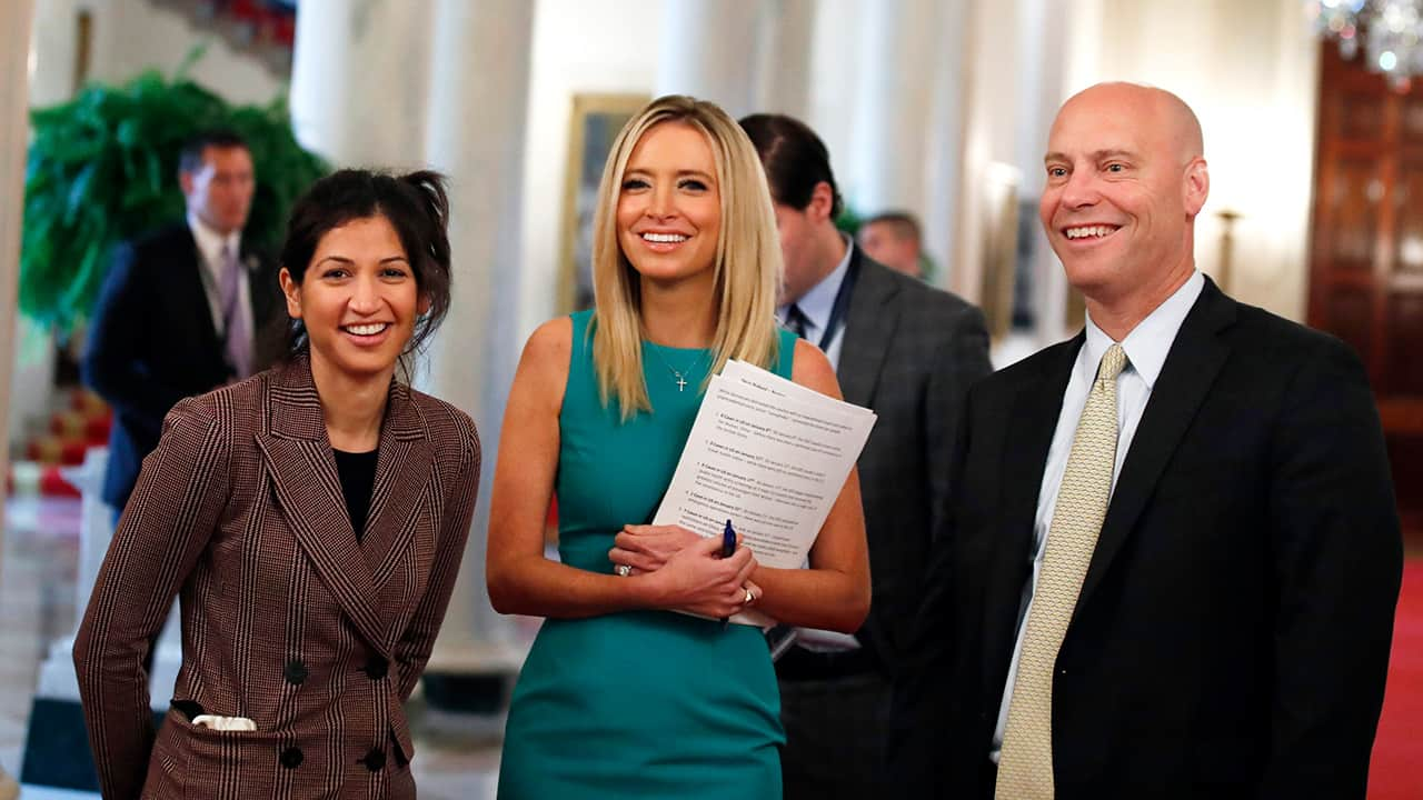 Photo of Katie Miller, press secretary for Vice President Mike Pence, left, White House press secretary Kayleigh McEnany and Marc Short, chief of staff to Vice President Mike Pence