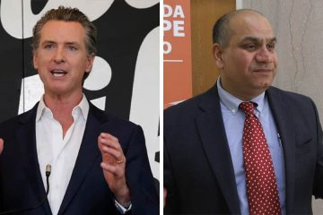Side by side images of Gov. Gavin Newsom, left, and interim Fresno County Health Officer Dr. Rais Vohra