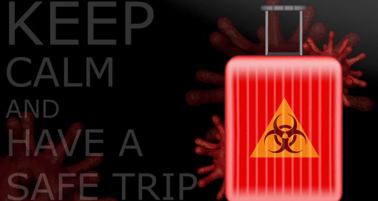 "Photo of a suitcase with the coronavirus symbol and the words ""Keep Calm and Have a Safe Trip"""