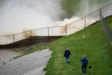 Photo of the view of a dam in Edenville, Mich.