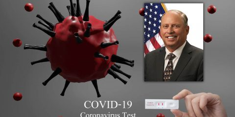 Composite image of coronavirus and Fresno County Supervisor Buddy Mendes