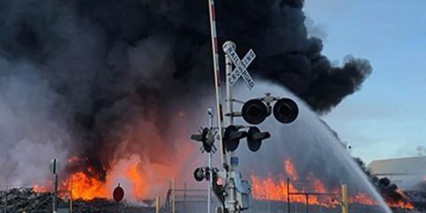 Photo of a tomato processing plant fire in Stockton, California