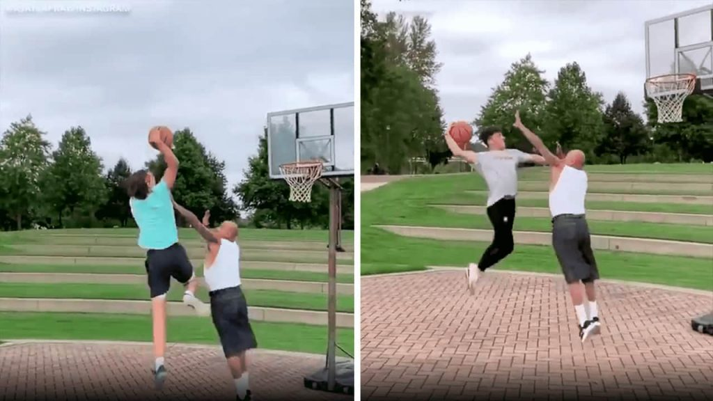 Video images of 59-year-old playground basketball player stopping dunks by much younger players.