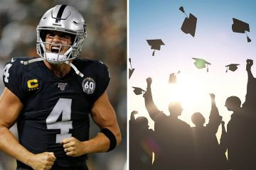 Side-by-side images of Raiders QB Derek Carr and graduates tossing their graduation caps