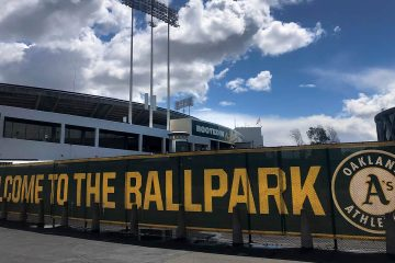 Photo of a banner to welcome to fans at the Oakland-Alameda County Coliseum in Oakland