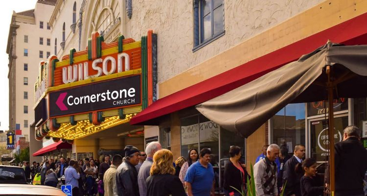 Image of people lining up outside Cornerstone Church in Fresno, California