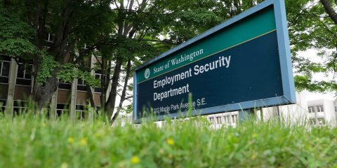 Photo of a sign at the headquarters for Washington state's Employment Security Department