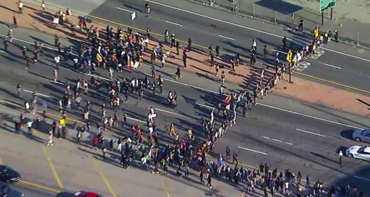 Photo of a Black Lives Matter protest in LA