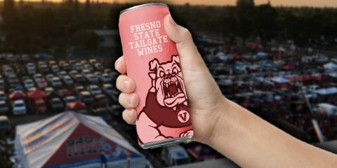 Mock-up images of what a can of Fresno State wine might look like