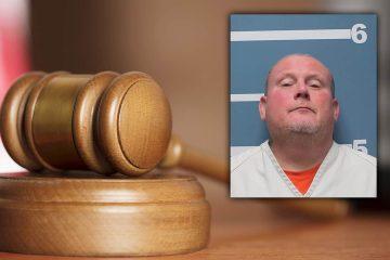 Composite image of Randy Scroggins' mug shot and a court gavel