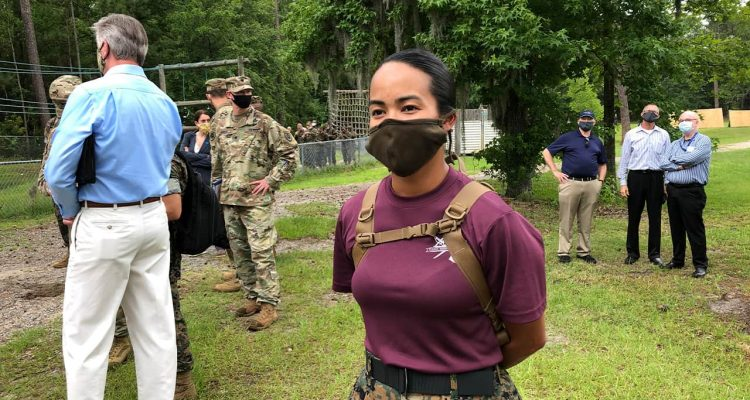 Photo of a Marine wearing a face mask