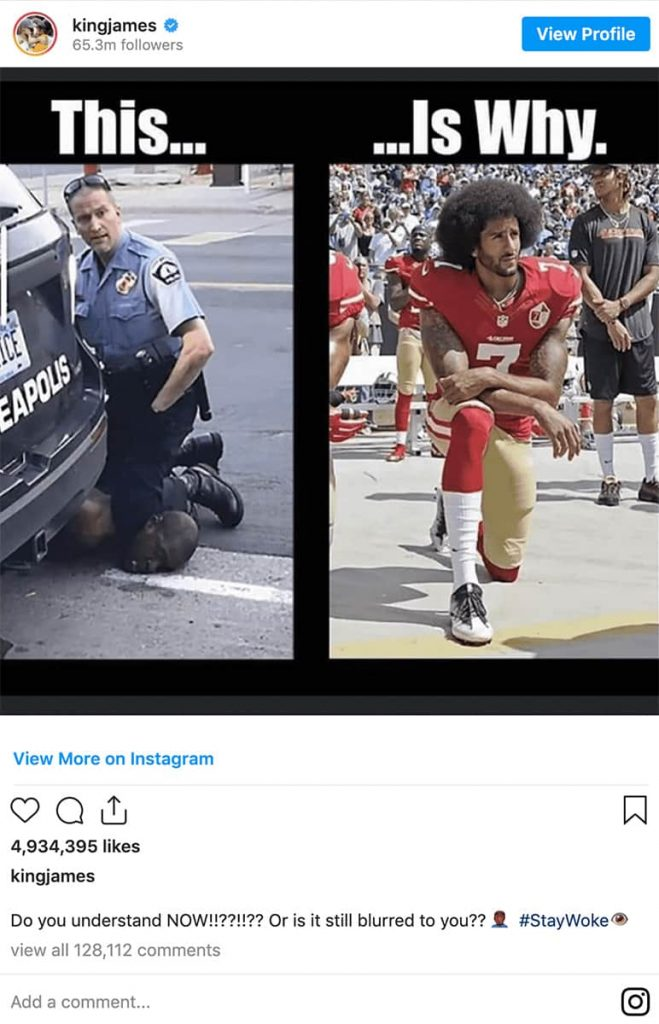 Image of LeBron James Instagram post pointing to George Floyd's death and Colin Kaepernick's protests during the National Anthem