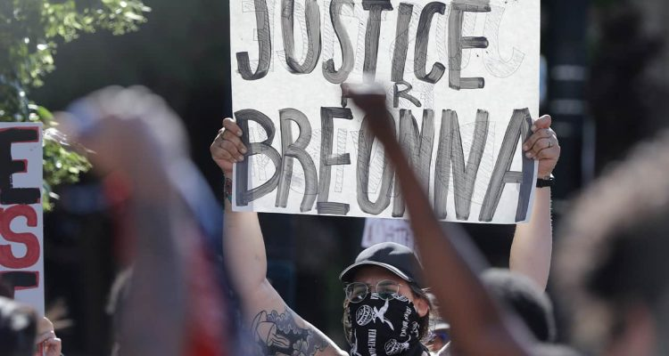 Photo of a protestor in Louisville