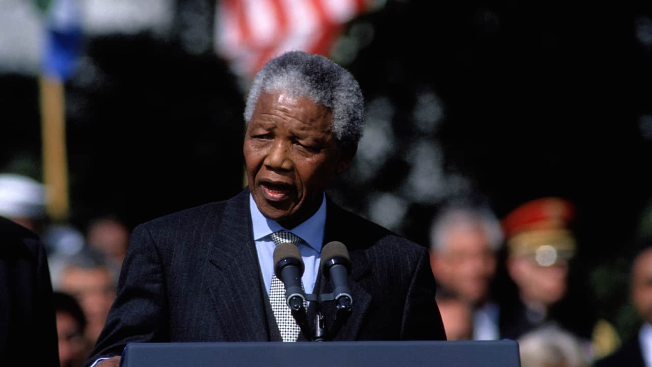 Photo of South Africa President Nelson Mandela at the White House on Oct. 4, 1994.