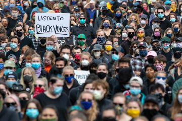 Photo of protesters in Maine