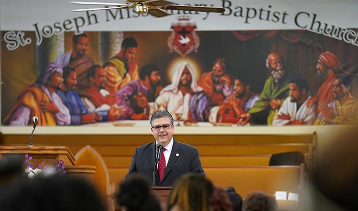 Photo of Joseph I. Castro speaking at St. Joseph Baptist Church in Fresno, California