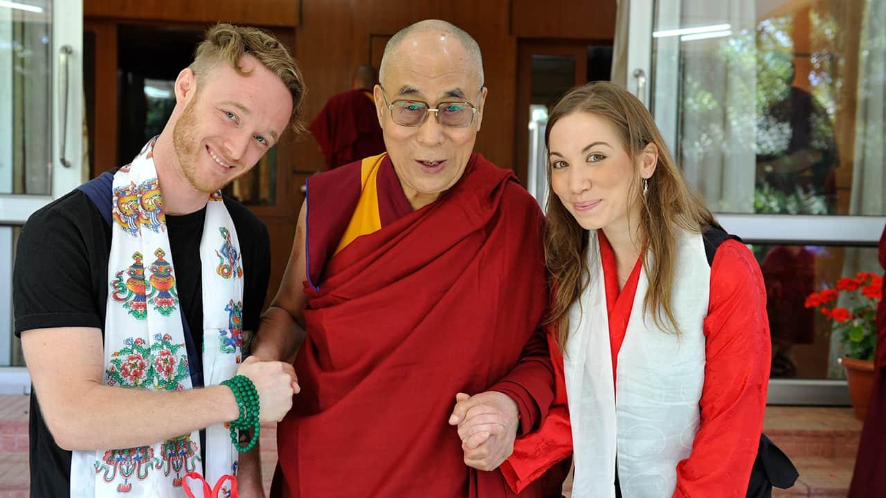 Photo of Dalai Lama, center, with Abe Kunin, left, and Junelle Kunin
