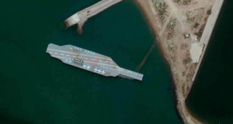 Photo of a fake aircraft carrier